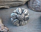 RESERVED!!! Metal Clay, Fine Silver, Handmade, Daisy Heart, Ring, Custom