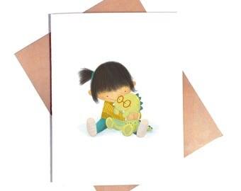 Girl Hugging Dinosaur Card