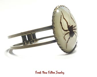 Real ghost spider hinged cuff bracelet