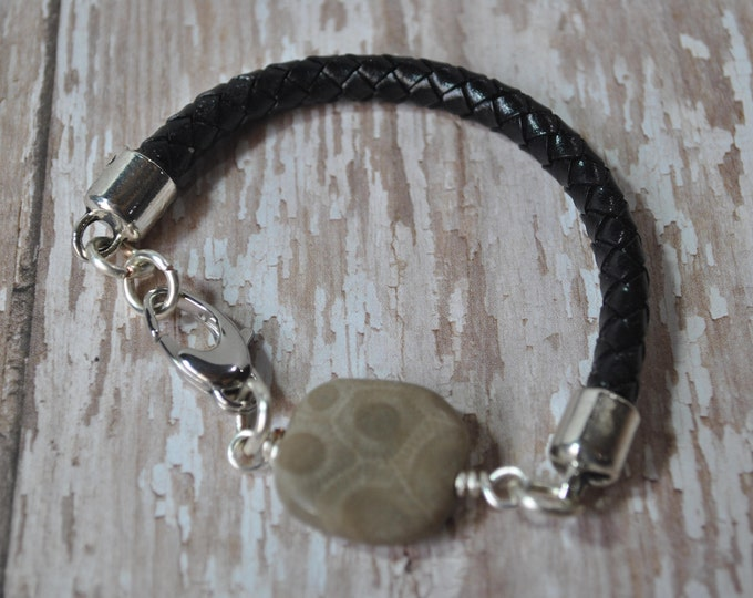 Petoskey Stone and black leather bracelet, Up North Michigan bracelet, fossil bracelet