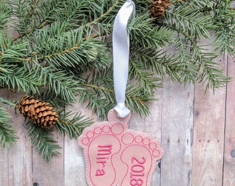 Baby feet ornament etsy personalized baby feet ornament vinyl in 31 colors with custom embroidered name and year negle Gallery
