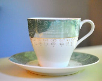 Green Luster Tea Cup and Saucer Japan