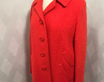 Vintage 1960s Flaming Orange Boucle Button Front Coat
