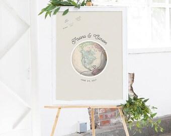 Globe Guest Book Alternative - Travel Wedding Guest Book Map - Unique Guest Book Idea - Wedding Guest Sign In - Canvas Guest Book Map