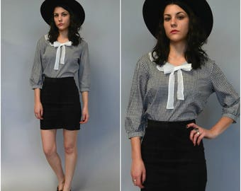 1960s gingham cotton bow tie blouse