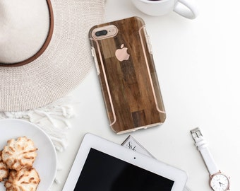 Dark Untreated Wood iPhone Case and Rose Gold Detailing - Otterbox Symmetry iPhone 6 / iPhone 7 / iPhone 8 / iPhone X - Platinum Edition