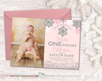 Winter Birthday Invitation, Winter ONEderland Birthday Invitation, Snowflake Birthday Invitation, Winter Onderland Invitation, ONEderland