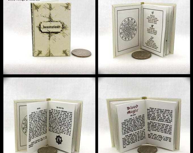 The WHITE BOOK Of INCANTATIONS 1:6 Scale Readable Illustrated Miniature Book Spell Book Barbie Doll Book Wesen Wizard Witch Potter
