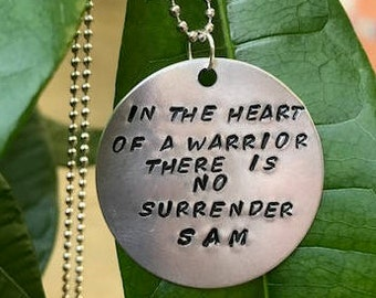 Warrior  Necklace- In the heart of a warrior there is no surrender