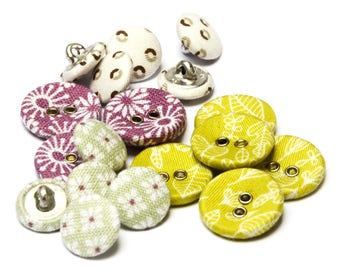 Fabric Covered Buttons · 19 Fabric Buttons · Flower Print Fabric Buttons · Lime Green Fabric Button · Purple Fabric Button