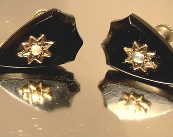 Victorian French Jet 9K Gold and Pearl Earrings with Silver Screwbacks