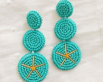 Turquoise Beadwork Statement Earrings: bold, beads, beadword, sterling silver