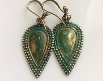 Green Patina Earrings  Bohemian Earrings  Verdigris Patina  Gypsy Dangles