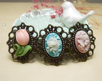 You Pick! Resin Brooch Vintage Brooch Flower Brooch Vintage Jewelry Gift For Her Antique Brass Brooch Tiny Brooch Pink Tulip Brooch