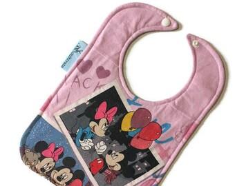 Minnie and Mickey Baby Bib • Mickey Tee Shirt Bib • Baby Shower Gift • Upcycled Tshirt Bib