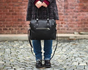 Everyday Black Vegan Leather Bag with Front Pocket / Faux Leather / Convertible Bag