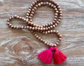 ZEN Double Tassel Beaded Necklace - two chunky cotton tassels with Wooden Beads