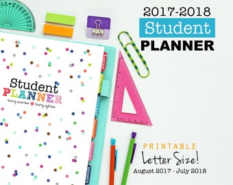 2017-2018 Student Planner, Printable Inserts, Daily Planner - Dated August 2017 - July 2018, Student Agenda, Academic Calendar