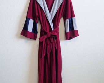 Luxe 70s Burgundy Robe - Hooded One Size M L XL