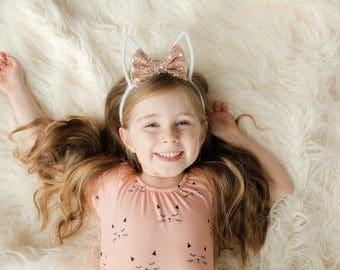 Rose Gold Bunny Ears || Rabbit Ears Headband || Easter Headband Toddler Girl Spring Accessory