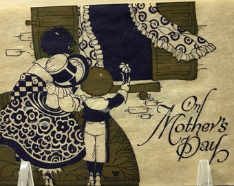 On Mother's Day…1920's Art Deco Gold Gilded & Cobalt Blue Hand Paintef on Parchment Paper, a Buzza Greeting Card, Unused
