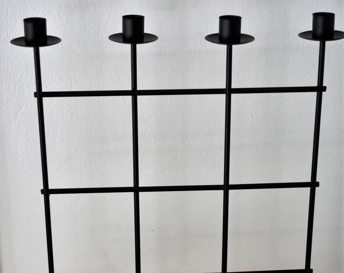 Swedish Modern Black Iron Grid Candle Holder