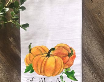 Farmhouse Personalized Fall Flour Sack Towel, Farmhouse Fall Decor, Pumpkins, Thanksgiving, Hostess Gift, Fall Kitchen towel, Wedding Gift