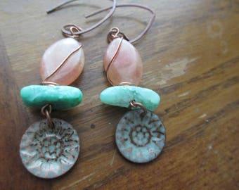 Chrysoprase Orange Aventurine Green Discs Earrings, Gemstone Earrings, Boho Earrings, Boho Earrings, Green Earrings, Orange Earrings