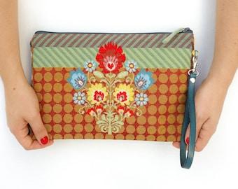 LTD ED. Envelope wallet, Envelope clutch, Wristlet wallet, Fabric handbag, Wristlet  purse, Summer Zipper pouch, Clutch purse, flower print