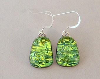 Green Dichroic Fused Glass Dangle Earrings, Teardrop, Fused Glass Earrings, Glass Earrings, Dichroic Earrings, Dangle Earrings, Emerald