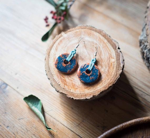 Ceramic macrame earrings