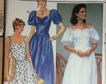 Summer Dress Pattern Sweet Heart Neckline UNCUT Butterick 6593 Size 12 Spaghetti Straps Short Sleeves Very Feminine Church Garden Wedding