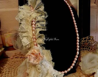 Pretty In Pink Up-Cycled Faux Pearls and Lace Shabby Couture Art To Wear FREE Shipping in USA