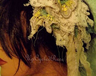 Tattered and Torn Up-cycled Rose Hair Clip Shabby Couture Art to Wear Mori Girl Forrest Farie Hair Jewelry Ready to Ship