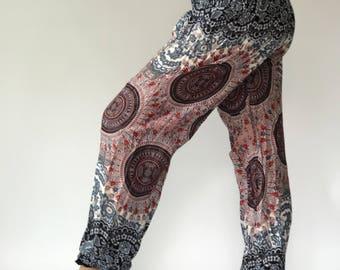 SM0027 Geometric Mandalas Lady Pants, Gypsy Pants Rayon Pants,Aladdin Pants Maxi Pants Boho Pants