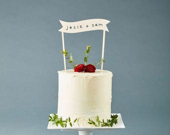 Cake Topper Custom Wedding - Simple Banner Wedding Cake Topper - Wooden Cake Topper  - Personalized Cake Topper