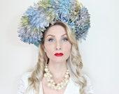 Jack McConnell Hat / Vintage / Straw / Ombre petals with rhinestone dew / Aqua / Blue
