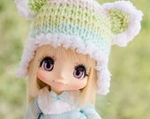 """7-8"""": Wintry knitted hat with teddy ears"""