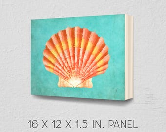 Scallop shell art, shell painting, 12x16, coastal gifts, nautical gifts, beach gifts, tropical art, coastal art, beachy art, home decor