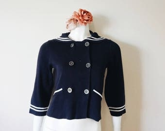 Vintage dark blue sailor button up sweater | vintage nautical sweater