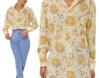 Vintage 70s Floral Blouse Shirt