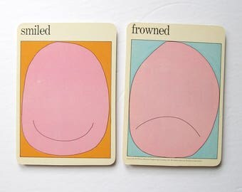 Smiled & Frowned - Pop Art Portraits - Vintage MOMA Art Cards - Childrens Room Decor - Mid Century Modern Art Decor - Museum of Modern Art