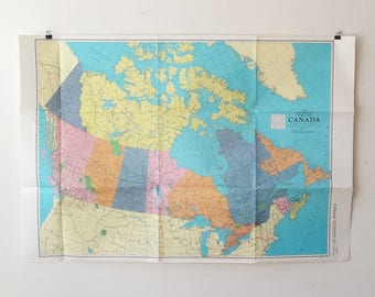 Globes maps etsy ca vintage map of canada giant colorprint map mid century canadian wall decor world gumiabroncs Gallery