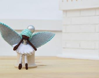 Felt Fairy Doll - felt fairies, African American fairy doll,  miniature fairy doll, miniature fairies, waldorf fairy doll, OOAK doll