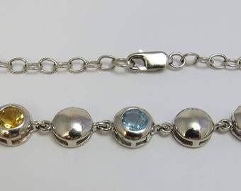 Sterling Silver Multi Gemstone Bracelet