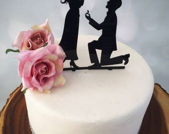 Engagement cake topper  Wedding cake topper Marry me topper  She said yes  Cake topper  Engagement party decorations Proposal topper
