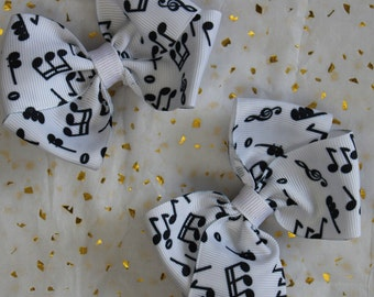 Music Note hair bow clips