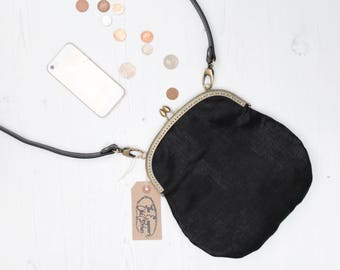 Metallic Black handbag with leather style strap shoulder purse crossbody cute handmade by The Emperor's Old Clothes