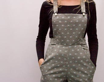 Grey floral cotton dungarees culottes UK size 10-12  floral trousers flares overalls jumpsuit handmade by The Emperor's Old Clothes