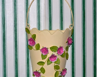 Vintage Tin Rose Vine Wall Vase